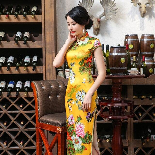 edd3854b5fb66 2019 new High Fashion Yellow Mandarin Collar Satin Cheongsam Chinese  Vintage Print Qipao Elegant Flower Long Dress S-3XL C0112-C