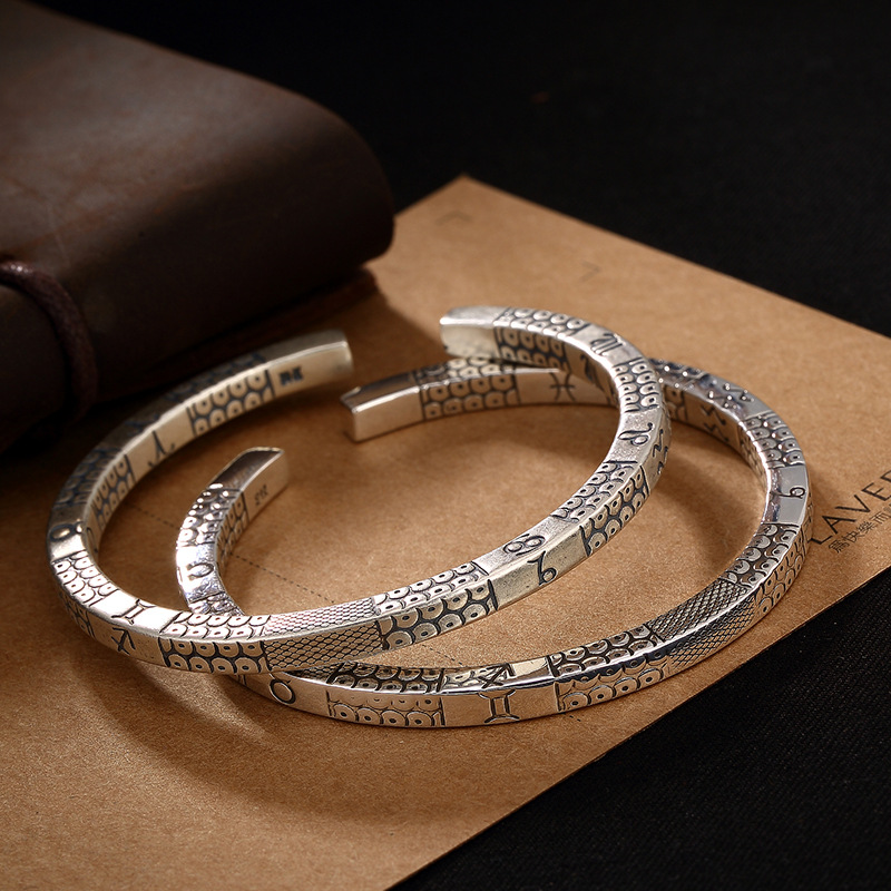 Vintage S990 sterling silver bangles HANDMADE fishbone opening bracelets & bangles for men and women jewelry 5.8 CMVintage S990 sterling silver bangles HANDMADE fishbone opening bracelets & bangles for men and women jewelry 5.8 CM