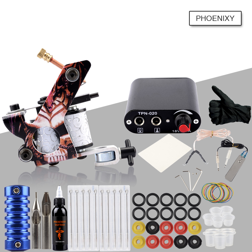 US $20.98 40% OFF|Beginner Tattoo Kit One Tattoo Machine Gun Set 8 Wrap  Coils Black Ink Pigment Makeup Tool Induction Tattoo Power Supply Set  Kit-in ...