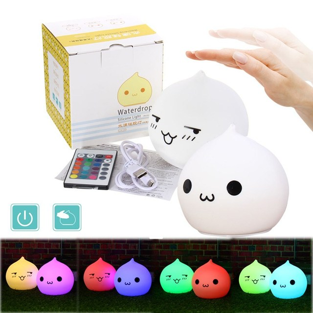 Waterdrop USB Charge LED Night Light Lamp Clap Silicone Soft Night - Clap lights for bedroom