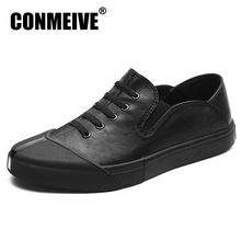 2017 Top Fashion Flats Shoes Men Genuine Leather Soft Casual Mens Flat Black Net Leisure Lace Up Autumn Winter Brand Men's Shoe