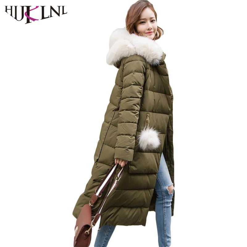 HIJKLNL 2019 New Winter Long   Down   Jacket Girls Winter Ladies   Down     Coat   With Real Fur Women Parkas Hooded Casacos Femininos HB216