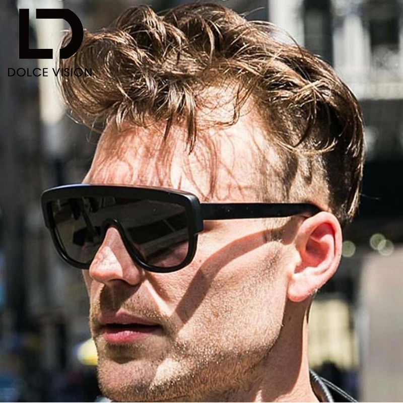 DOLCE VISION Retro Flat Top Sunglasses Men Black Frame One Piece Sun - Accesorios para la ropa