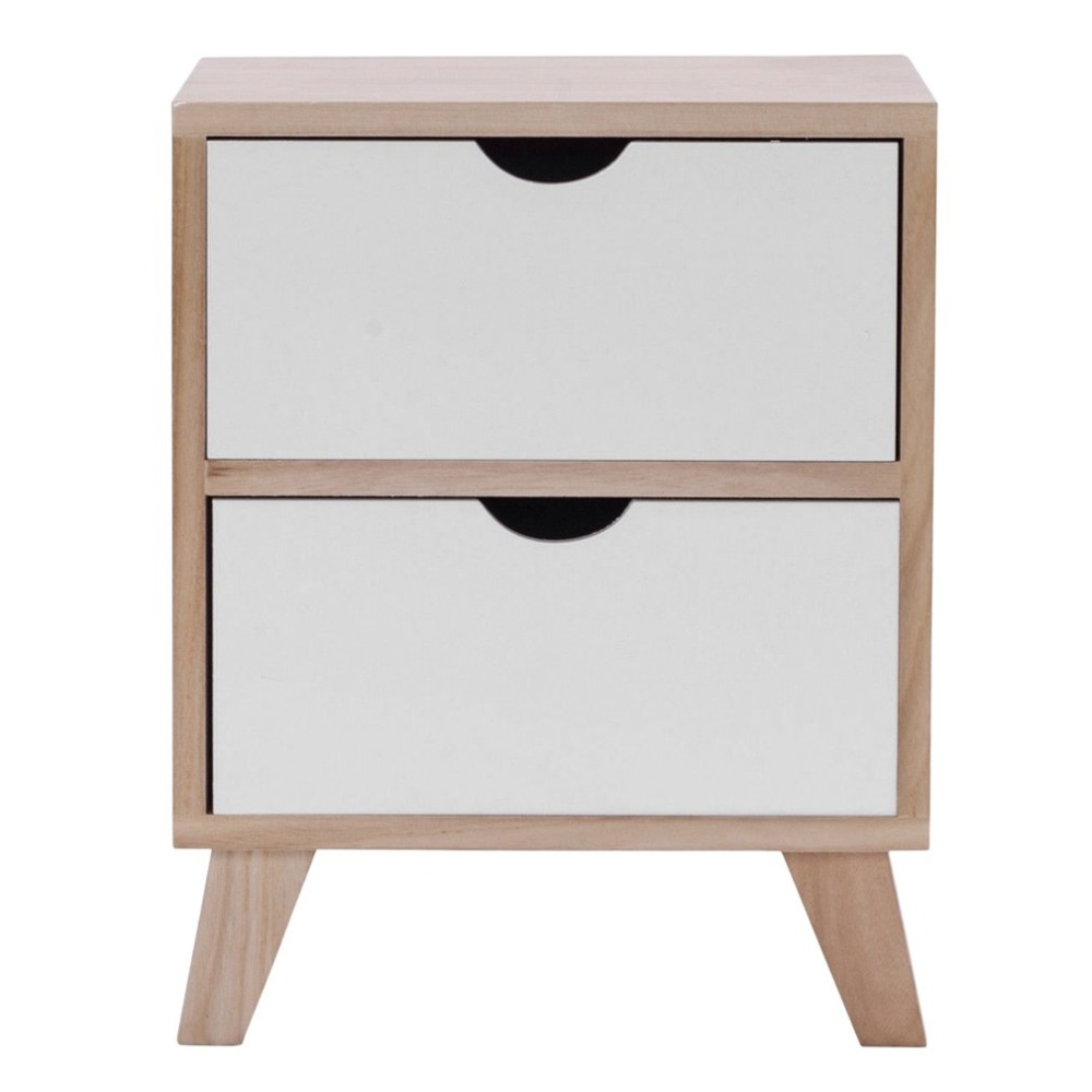 2 Drawer Cabinet Wooden Bedside Table With Four Solid Wood Legs Home Furniture Filing Pedestal Durable Nightstand