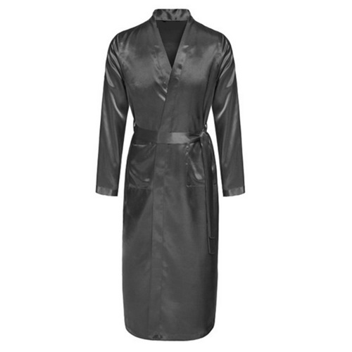 Gray Men Rayon Robes Gown 2020 New Quality Male Kimono Solid Color Long Sleeve Sleepwear Nightwear With Belt S M L XL XXL JA18