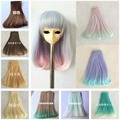NEW Inside Bending BJD Wig Colorful Rinka Curly Doll DIY Wigs For 1/3 1/4 BJD SD Handmade Dolls Bent Hair 15*100cm 2Pcs/lot