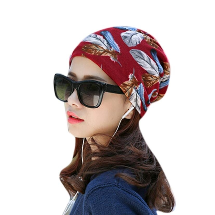 Hot Women's Skullies Beanies  Spring Autumn Stretchy Flower Turban Head Wrap Chemo Hat Bandana Pleated Caps Drop Shipping Feb24 skullies