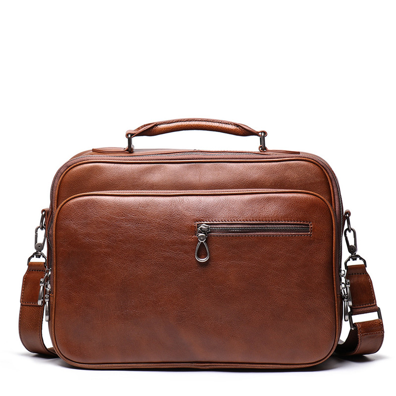 Nesitu Vintage Brown Coffee Full Grain Genuine Leather 14'' Laptop Office Women Men Briefcase Portfolio Messenger Bag M9270