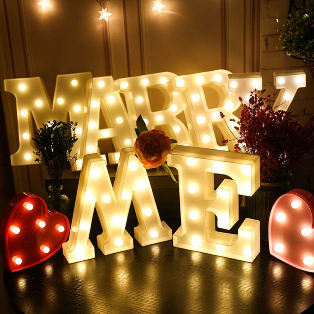 DIY LED Night Light Marquee Sign Alphabet 3D Wall Hanging 26 English Letter Home Valentine's Day Decor