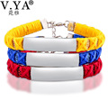 V.YA Nylon Weaving Bracelet for Woman Man Unique Engrave Bracelet for Lovers Stainless Steel Jewelry Colorful Bangle
