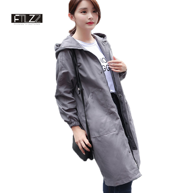 Female Hooded   Trench   Coats New 2018 Women Causal Army Green Medium Long Coats Mujer Spring Autumn Harajuku Windbreaker Feminina