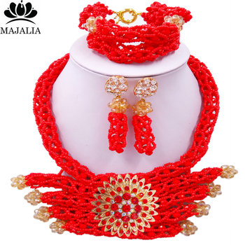 Majalia Fashion Romantic Nigeria Wedding African Beads Jewelry Set Opaque red Crystal Necklace Bridal Jewelry Sets 1SC002