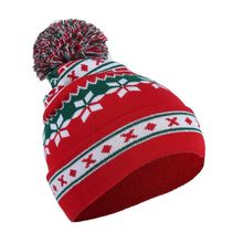 Men's Women's Christmas Snowflake Striped Print Wool Ball Knitted Beanie Hat Autumn Winter New Caps худи print bar christmas winter