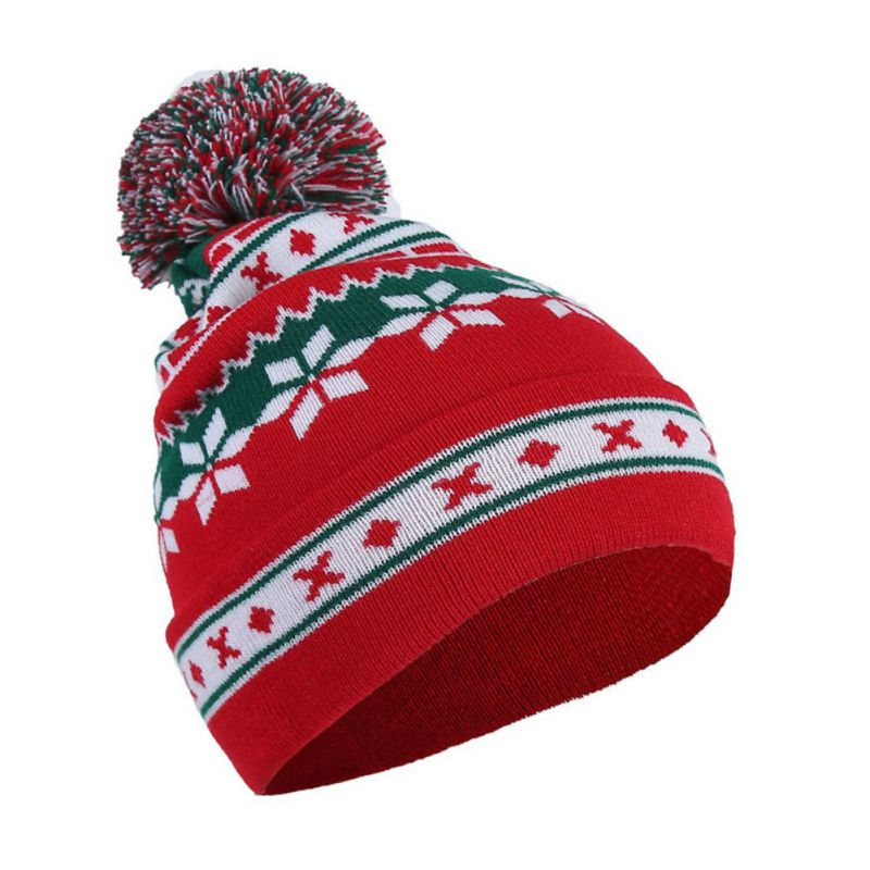 Men's Women's Christmas Snowflake Striped Print Wool Ball Knitted   Beanie   Hat Autumn Winter New Caps