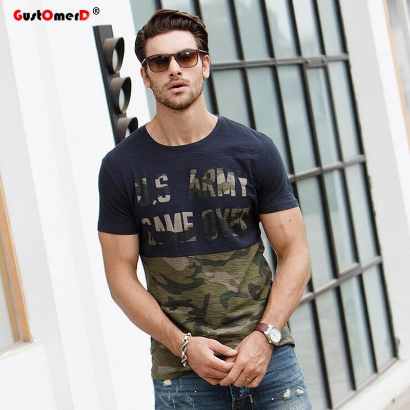 GustOmerD 2017 Fashion Camouflage Patchwork Cotton T shirt Uomo Slim Fit manica corta vestiti di marca Casual stampato Tops Tees