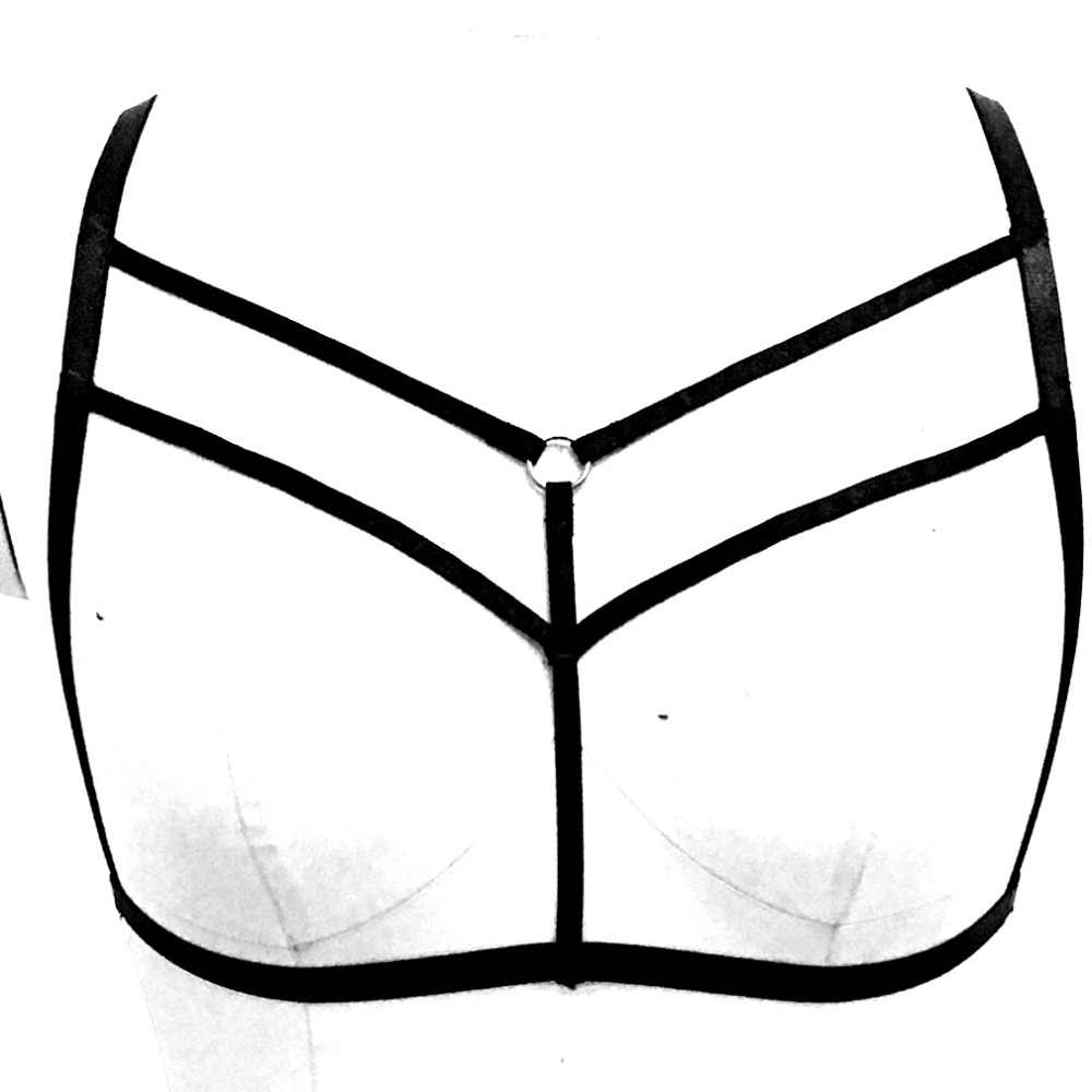 7cc3c31a5575c Strappy Harness Bra BodyCage Bralette Punk Goth Top Breast Belt Black  Bondage lingerie Women Sexy Garter