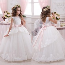 2016 White Lace Flower Girl Dresses For Weddings with Pink Bow Knot Ribbon Sash Long Pageant Gowns Ball Gown for Kids  F55
