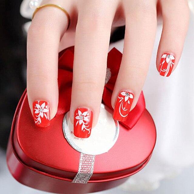 Red Metallic Nail Wraps Diy Nail Stickers Water Drops Nails Art