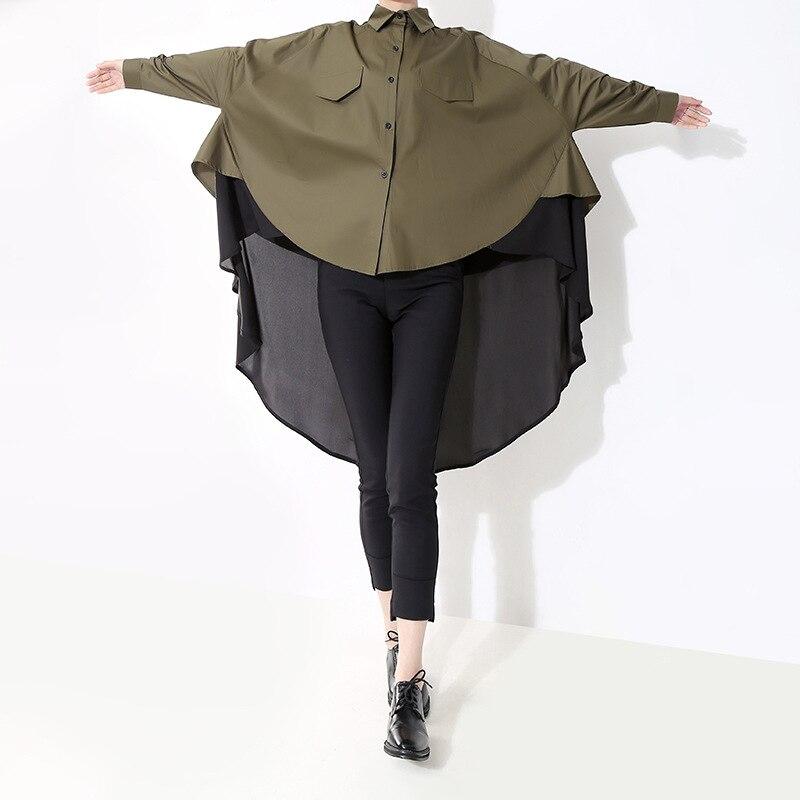 Mujeres Trabajo Casual Botones Moda De Ejército Manga Verde 2019 Estilo Nueva Blusa Black Bf Negro Loose Blusas Green Verano army Señora Larga Tops wqxtPIT