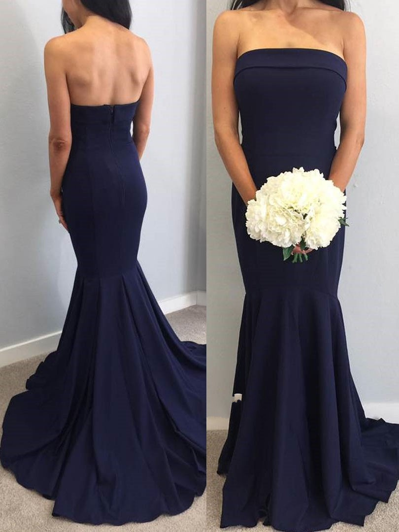 New Beautiful Navy Blue   Bridesmaid     Dresses   Strapless Long Mermaid Wedding Party Prom   Dress