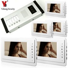 YobangSecurity 7 Inch Wired Video Door Phone Visual Intercom Doorbell with 5* Monitor+1* Camera For 5 Units Apartment Intercom