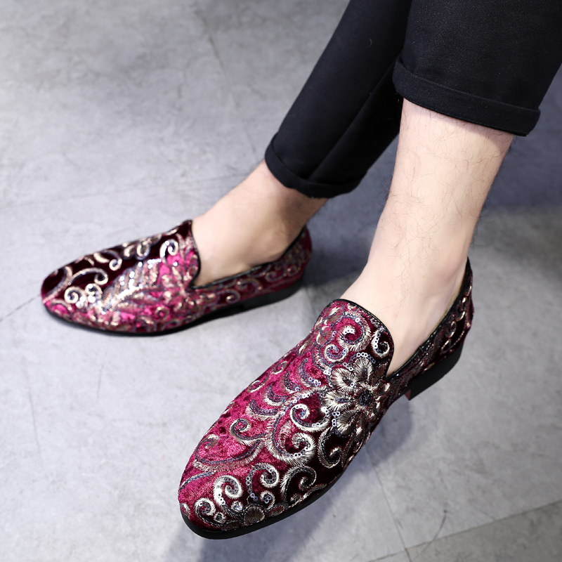 2019 New Design Embroidery   Suede   Formal Dress Shoes Doug Business   Leather   Pointed Toe Slip-On Penny Casual Flat Shoes Plus Size