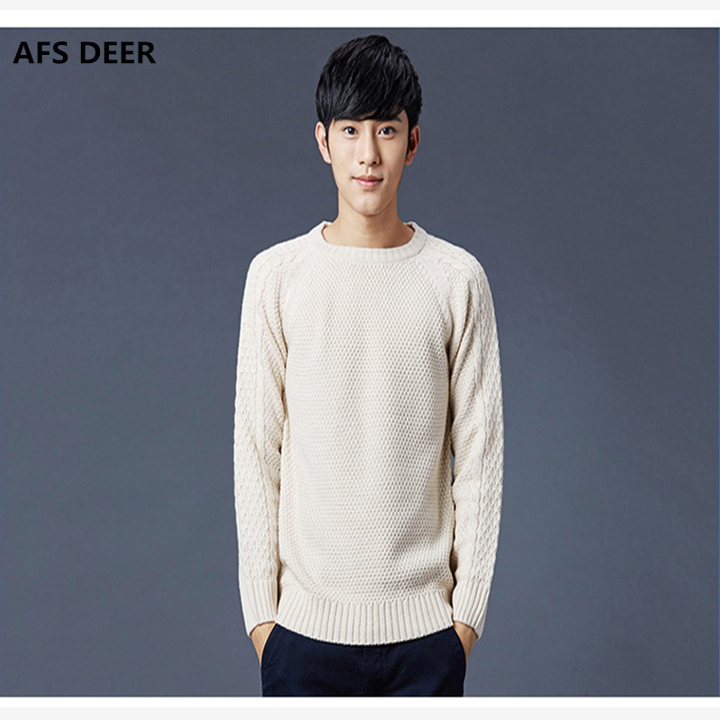 2017 Mens Sweaters And Pullovers New Autumn Fashion Brand solid cotton Sweater O-Neck Slim Fit Knitting Men Pullover Men