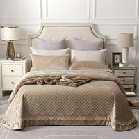 Famvotar Luxury Solid Khaki Embossed Cotton Bedspreads Soft Warm Embossed Ruffles Quilted Velvet Bedspread 3 Piece Set 245X245CM