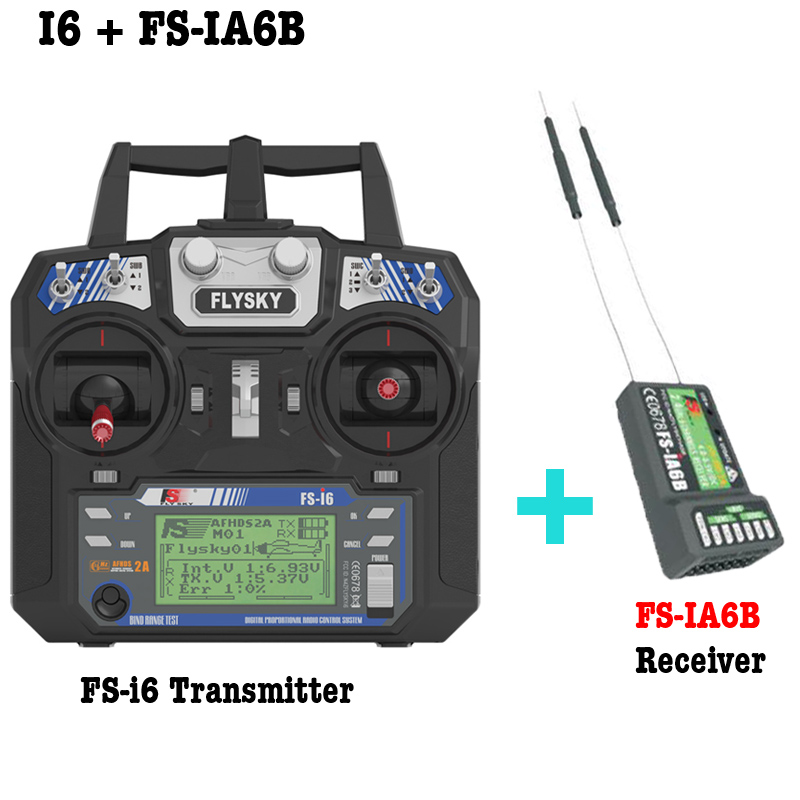 Free shipping Flysky FS-i6 FS I6 2.4G 6ch RC Transmitter with FS-iA6 or IA6B Receiver For RC Helicopter Plane Quadcopter flysky fs i6 fs i6 2 4g 6ch afhds rc transmitter controller with fs ia6 fs ia6b receiver for rc helicopter airplane quadcopter