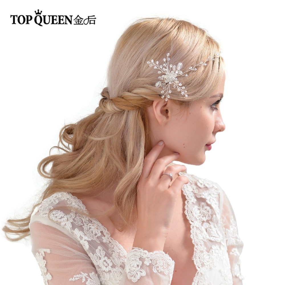 TOPQUEEN HP25 Bridal Combs Wedding Elegant Accessories Bridal Double Hair Comb With Crystal Beaded Handmade Women Headwear
