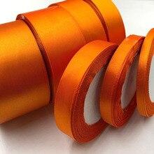 25 ярдов оранжевая шелковая Атласная Лента Свадебная вечеринка для упаковки подарков Рождество год для пошива швейных изделий лента 24