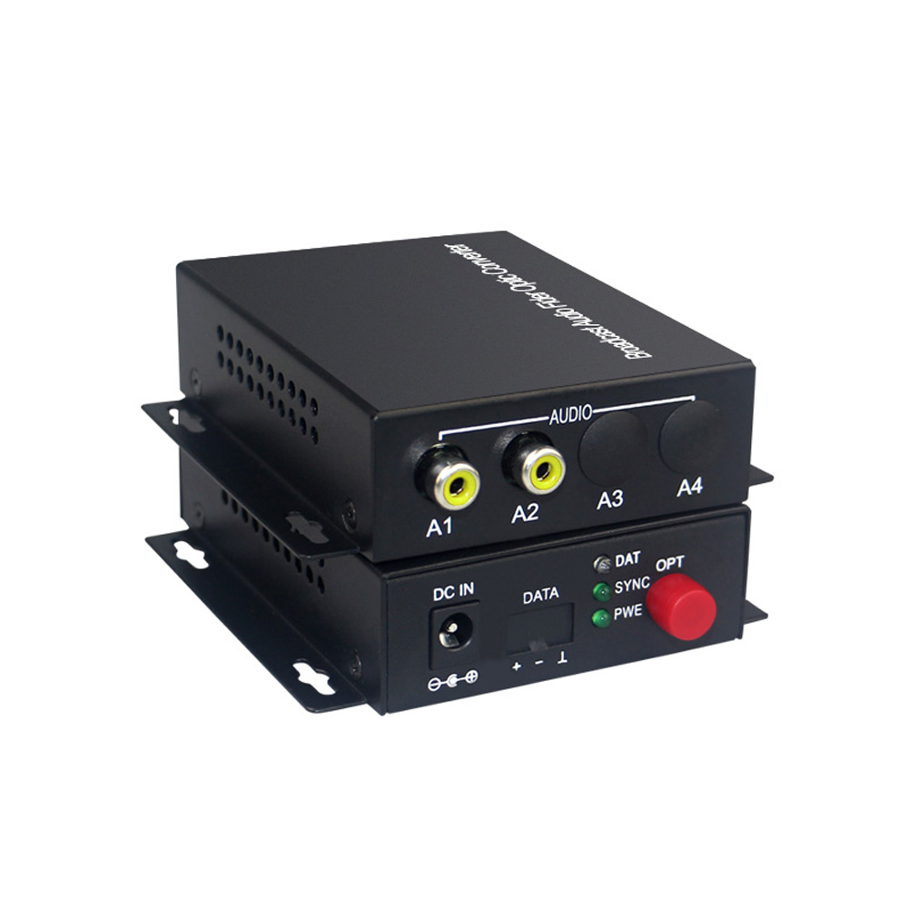 2 Audio Over FC Fiber optic Extender one way Transmitter and Receiver for Audio intercom broadcast