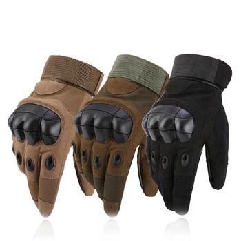 Męska taktyczna wojskowa pełna FingerGloves twarde rękawice Knuckle na pistolety do airsoft motocyklowe rękawice ogrodowe tanie i dobre opinie KUZEEBAN Pasuje prawda na wymiar weź swój normalny rozmiar Microfiber Nylon Rubber LY-046