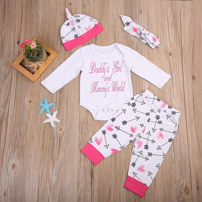 Newborn baby girls clothing 2017 New 4pcs Infant Toddle girls Romper+Pants Headband +Hat sets Toddle girl fashion clothes