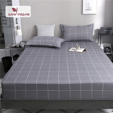 Slowdream 1PCS Simple Style Grid Bed Sheets On Elastic Band Fitted Sheet Gray Nordic Linen Mattress Cover With Rubber
