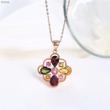 gemstone jewelry wholesale classic 925 sterling silver natural tourmaline charm necklace pendant for female