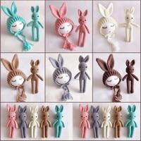 Newborn Photography Props Crochet Rabbit Ears Baby Hat Rabbit Toys Baby Boy Girl Photo Shoot Cap