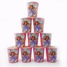 10pcs/lot Sofia Princess Party Supplies Paper Cup Cartoon Birthday Decoration Baby Shower Favors Kids Girls Boys