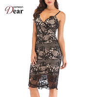 Comeondear Spaghetti Strap Pencil Dress Embroidery Vestido Verano Summer Sexy Outfit Dresses M XL Vintage Dress Woman RK80810