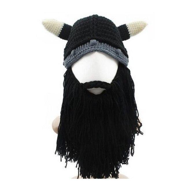 New men s barbarian Viking bean bean beard horn hat hand-knit winter warm  hat men s and women s birthday gift cool funny gag par 01e6afcf347
