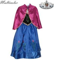 Multicolor New Arrival Dresses Girls Princess Anna Elsa Cosplay Costume For Girls Dress Kids Princess Wedding Party Dresses