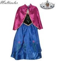 Renkli Yeni Varış Elbiseler Kız Prenses Anna Elsa Cosplay Kostüm Kızlar Için Elbise Çocuklar Prenses Düğün Elbiseleri