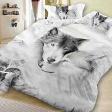 3D Bedding Set Three Piece Suit Animal Wolf High Quality Quilt Cover Wolf Head Pillow Case 150*200cm 200*230cm 220*240cm 200*200