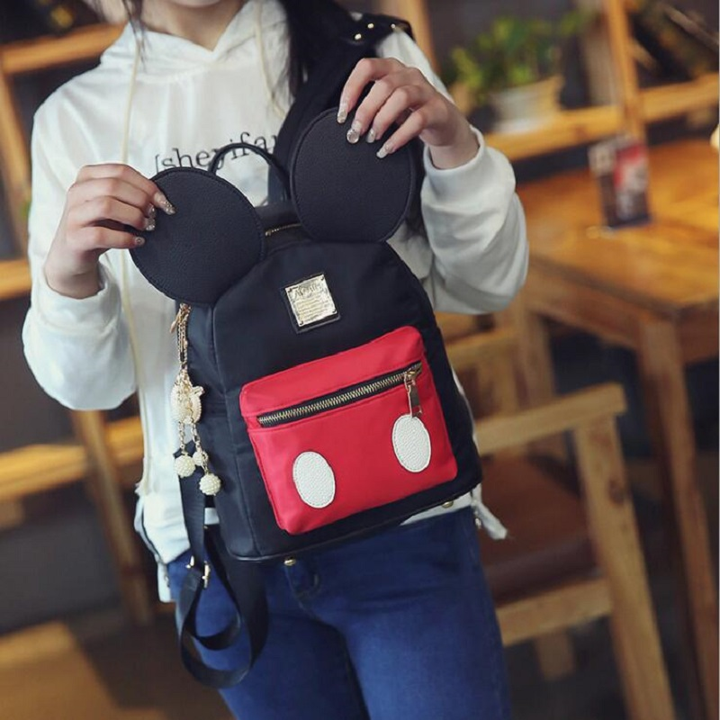 f0494e4d1a Cute Backpack Shape Female School bag Nylon Kids pack Mickey Ears Kawaii  Mini shoulder Rucksacks for Girls traveling evening bag-in Backpacks from  Luggage ...
