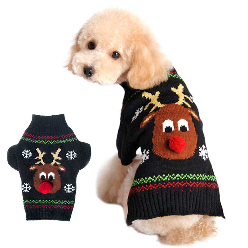 Pet dog cat Christmas red nose deer Sweaters Xmas Reindeer puppy/large dog  Clothes for autumn winter warm knitting crochet coat