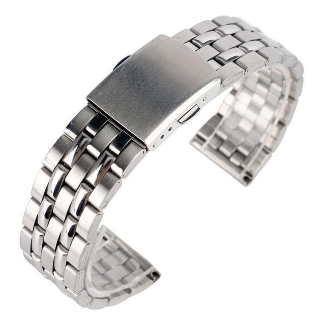 1a98504498c Alta Qualidade de Prata 18mm 20mm de Aço Inoxidável Pulseiras Strap Pulseira  Para Mulheres Dos Homens