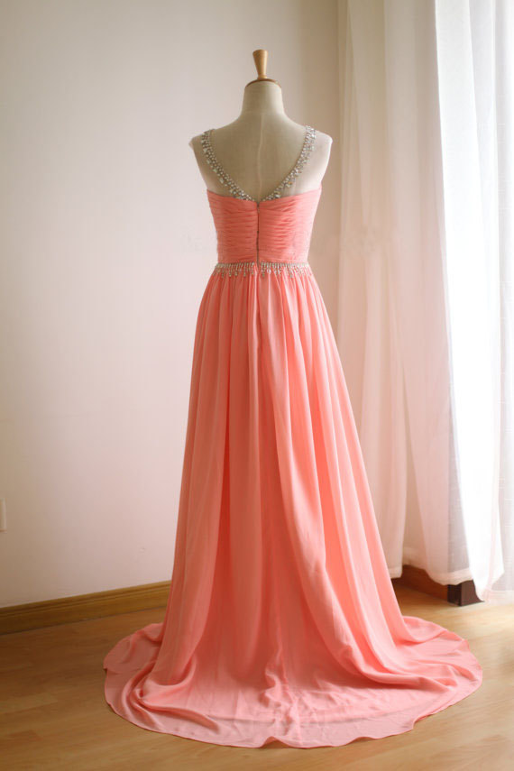 As Hochzeit line Mode Chiffon Picture Party A Kleid Lange Sexy Falte Maß Perlen Nach Kristall Abendkleid 0zaqR06w