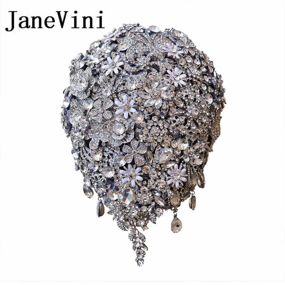 JaneVini Luxurious Custom Jewelry Silver Waterfall-Shaped Wedding Bouquets Bridal Wedding Holding Flowers Buque De Noiva