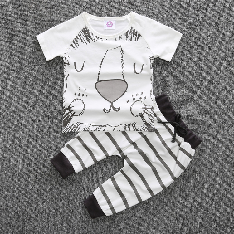33d7b37cd Retail 2019 new baby boy clothes set 2pcs Cartoon lion and cat T shirt with  short sleevess+pants baby summer clothes-in Clothing Sets from Mother & Kids  on ...