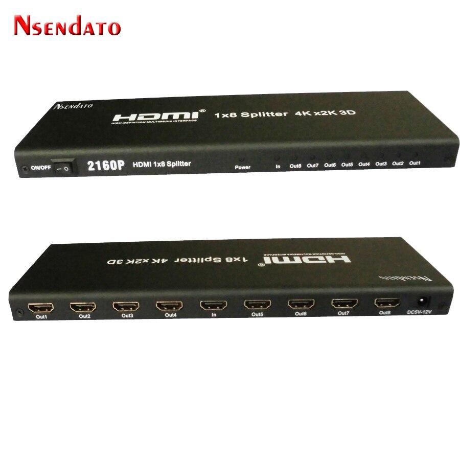 Nesendato HDMI Splitter 1x8 4 K x 2 K 1 In 8 Out HDMI Switcher Converter con Adattatore DC Supporto 4 k 3D 1080 p Per HDTV